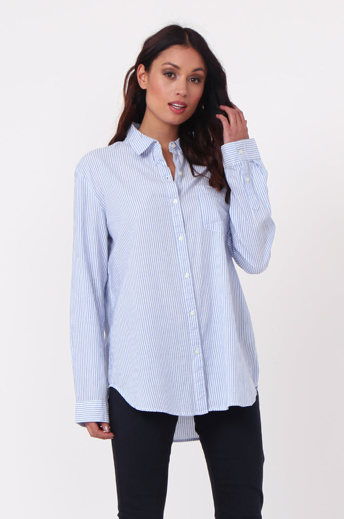 SF0450-BLUE STRIPE POCKET BLOUSE view main view