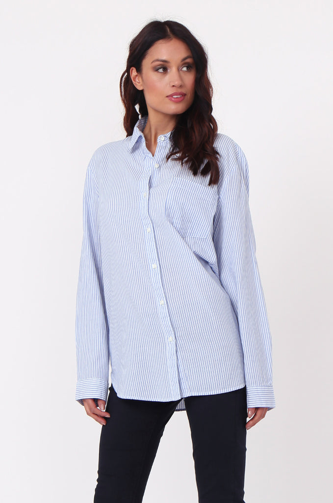 SF0450-BLUE STRIPE POCKET BLOUSE view 2