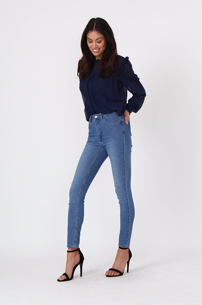 SF0457-LIGHT BLUE BASIC SKINNY JEAN view main view