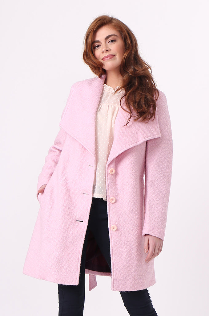 SF0603-PINK BELTED LARGE COLLAR COAT