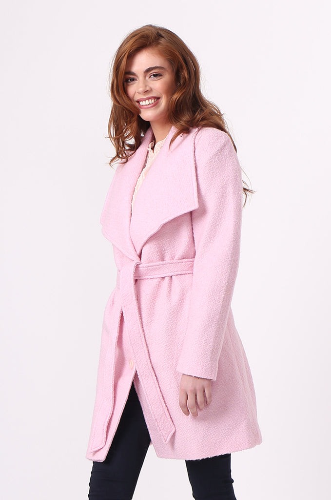 SF0603-PINK BELTED LARGE COLLAR COAT view 2