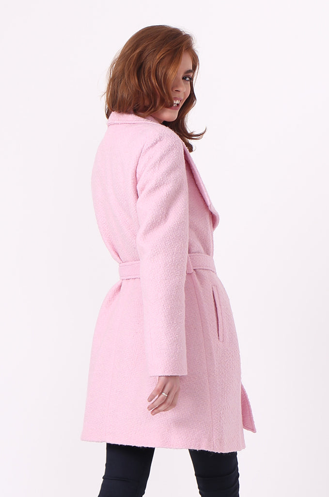 SF0603-PINK BELTED LARGE COLLAR COAT view 3