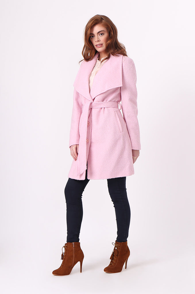 SF0603-PINK BELTED LARGE COLLAR COAT view 4