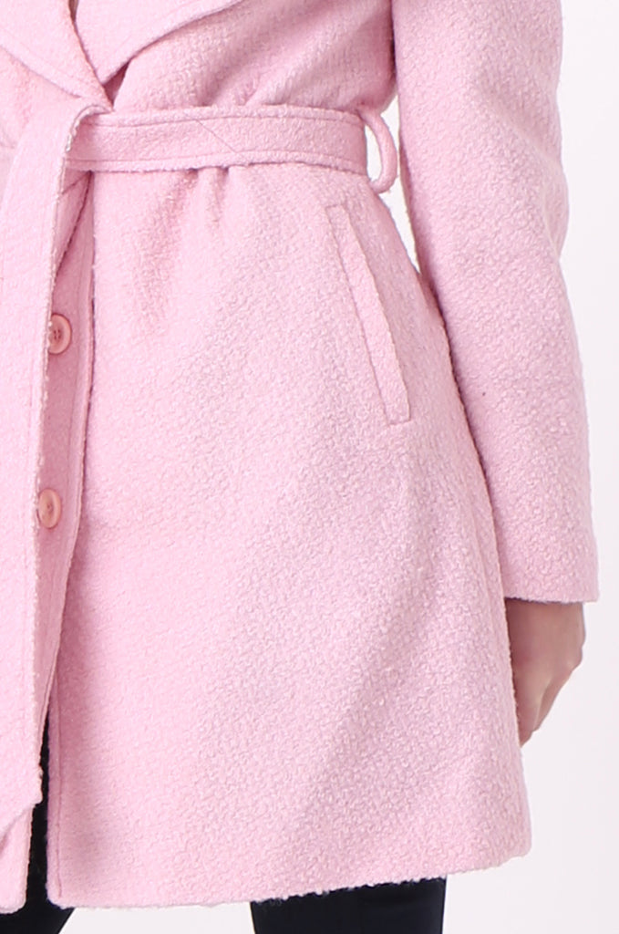 SF0603-PINK BELTED LARGE COLLAR COAT view 5