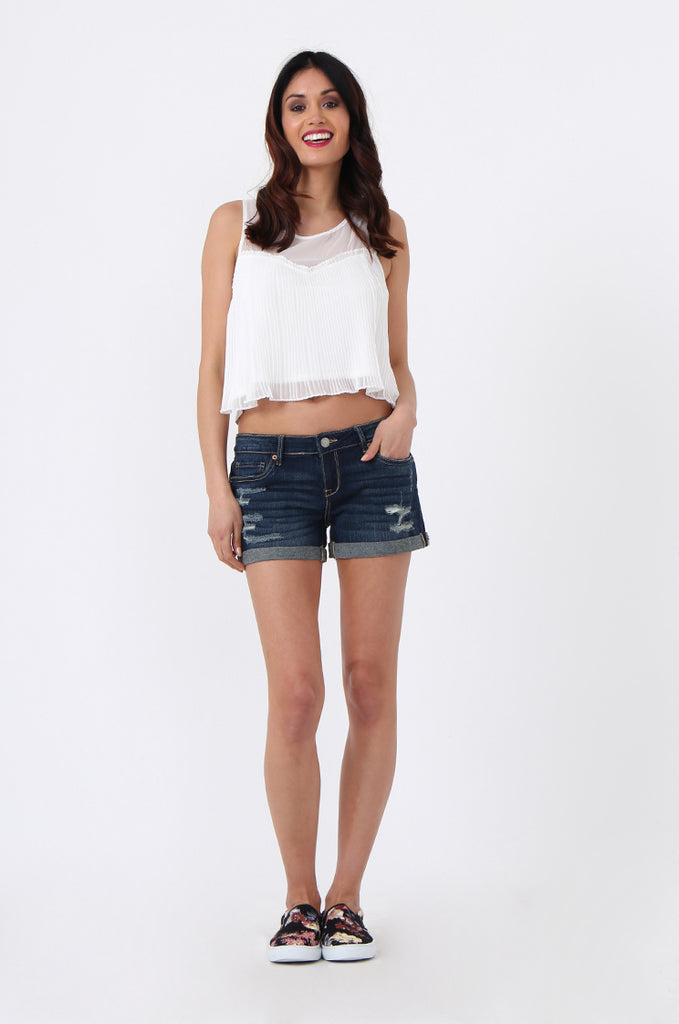 SF1016-BLUE RIPPED DENIM SHORTS view 4