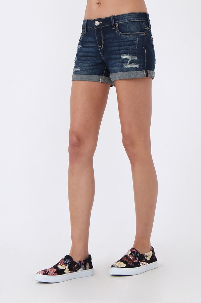 SF1016-BLUE RIPPED DENIM SHORTS view 6