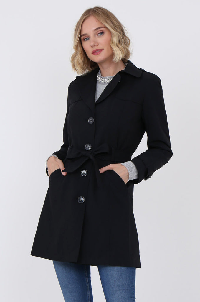 SF1497-BLACK BELTED TRENCH COAT view 2