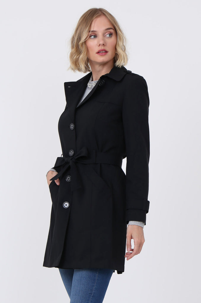 SF1497-BLACK BELTED TRENCH COAT view 3