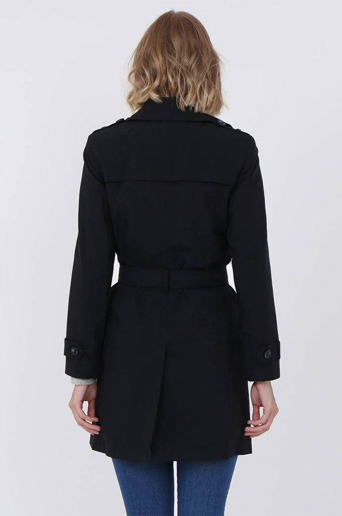 SF1497-BLACK BELTED TRENCH COAT view 4