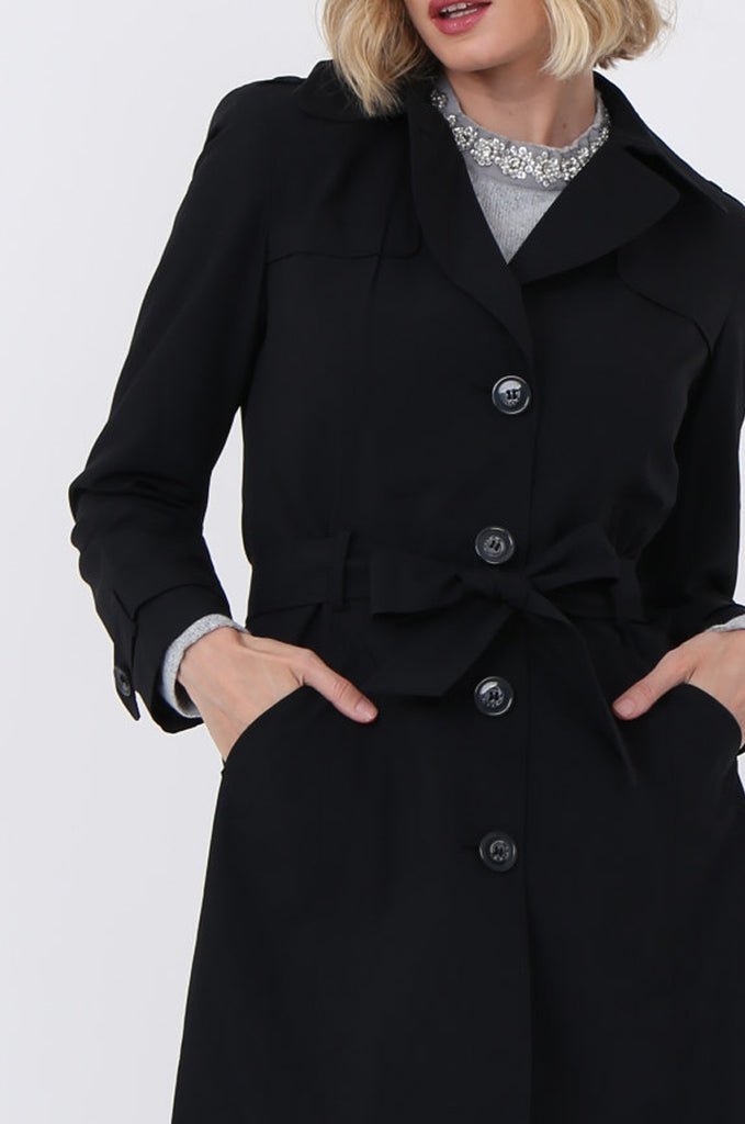 SF1497-BLACK BELTED TRENCH COAT view 5