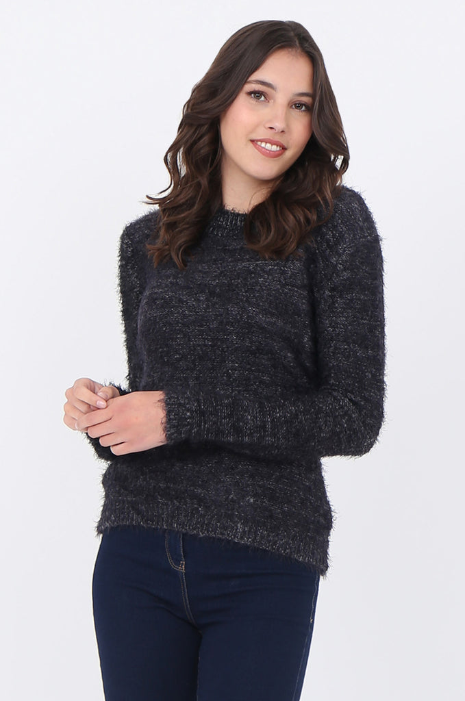 SF1663-BLACK FLUFFY CREW NECK JUMPER view main view