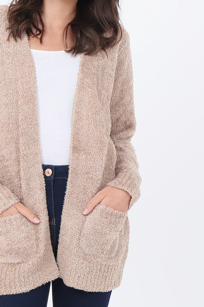 MOTTLED SOFT POCKET CARDIGAN