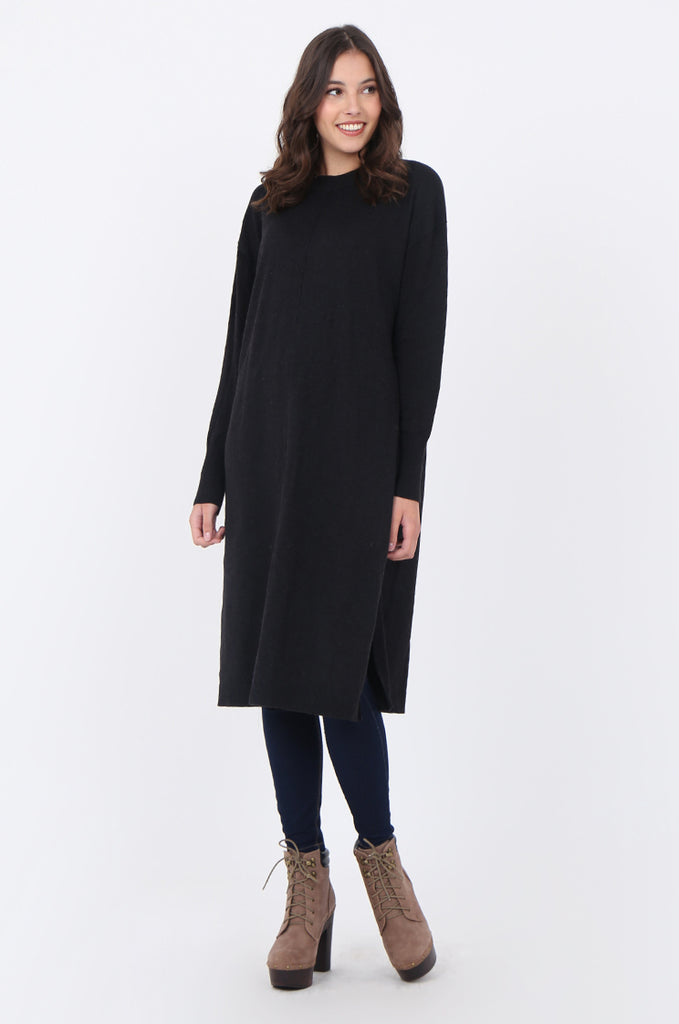 SF1733-CHARCOAL ROUND NECK FINE GUAGE SWEATER DRESS