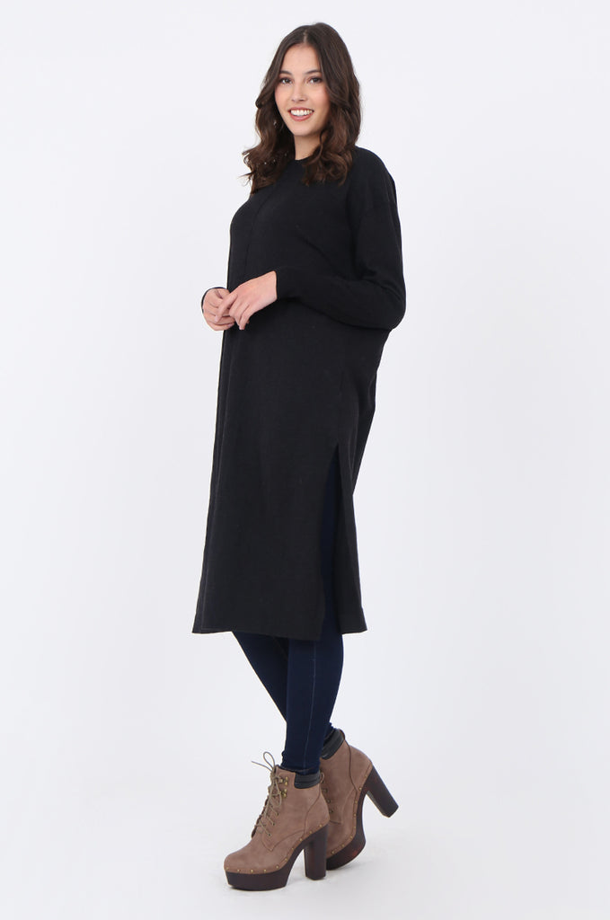 SF1733-CHARCOAL ROUND NECK FINE GUAGE SWEATER DRESS view 2