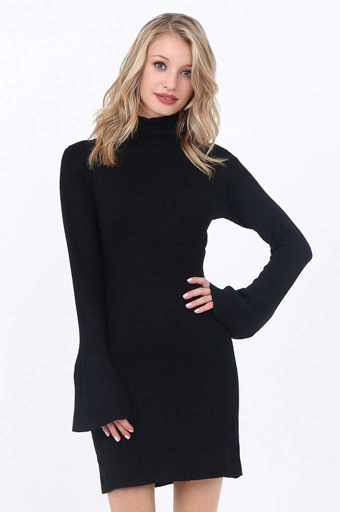 SF1744-BLACK TURTLENECK RIB KNIT DRESS view 2