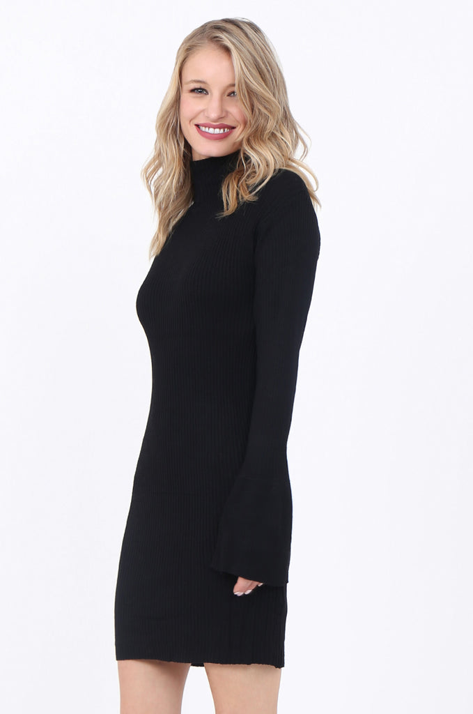 SF1744-BLACK TURTLENECK RIB KNIT DRESS view 3