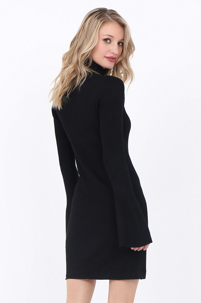 SF1744-BLACK TURTLENECK RIB KNIT DRESS view 4