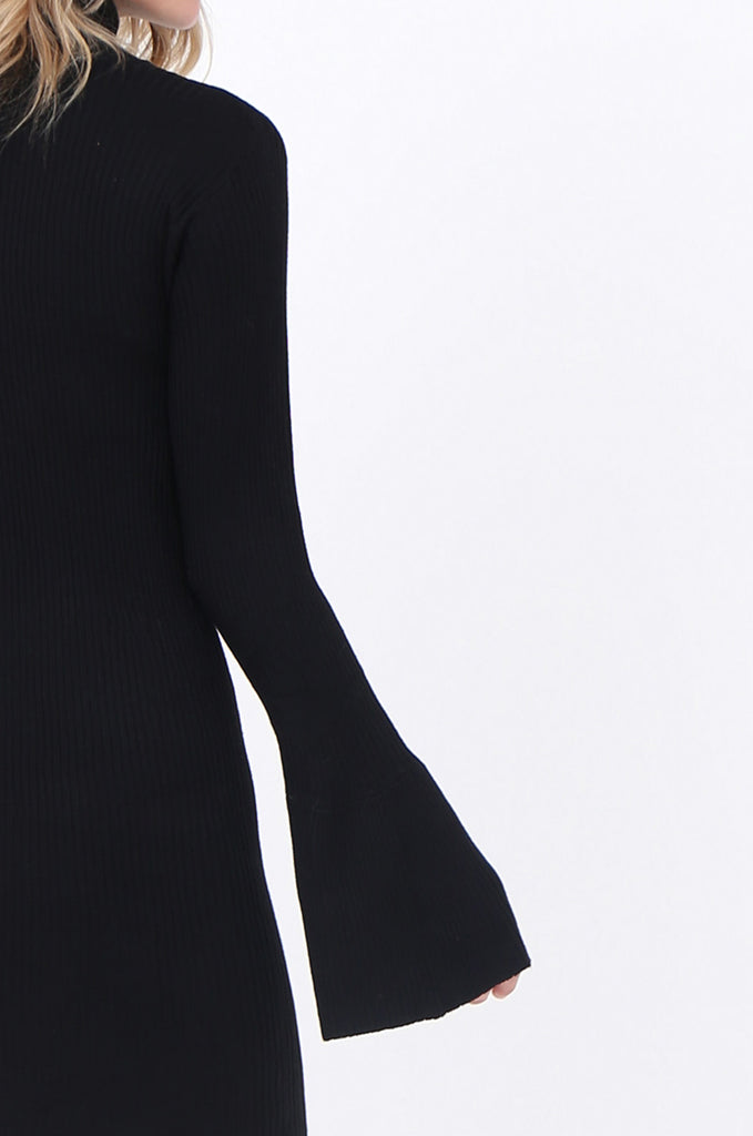 SF1744-BLACK TURTLENECK RIB KNIT DRESS view 5