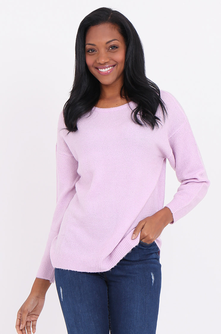 sf1798-pink bow & keyhole back sweater - 22