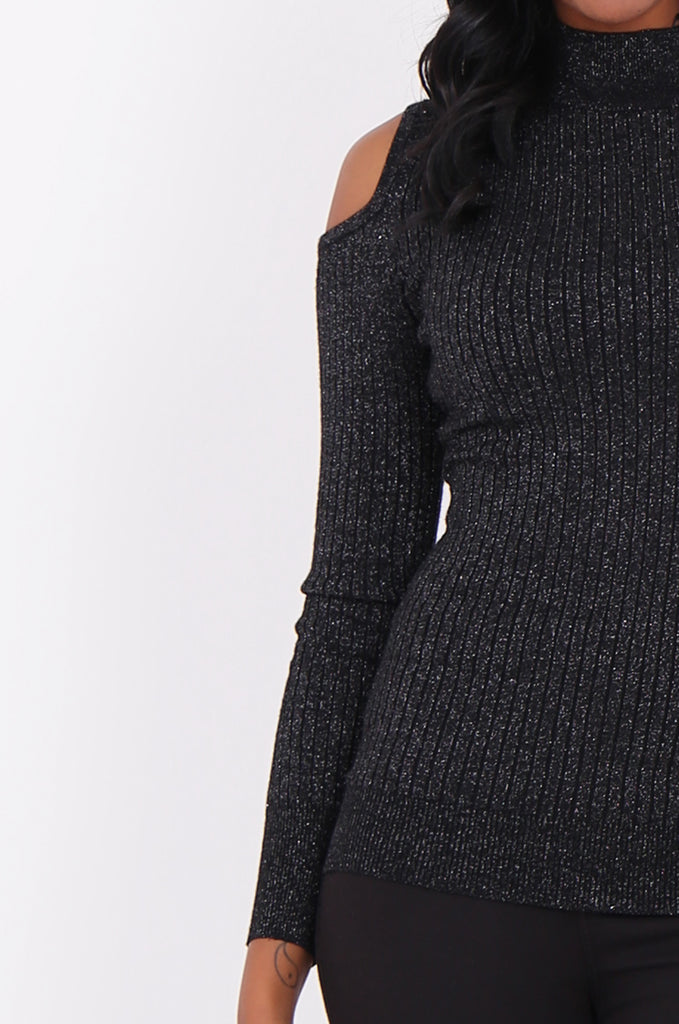 SF1801-BLACK LUREX RIBBED COLD SHOULDER KNIT TOP view 5