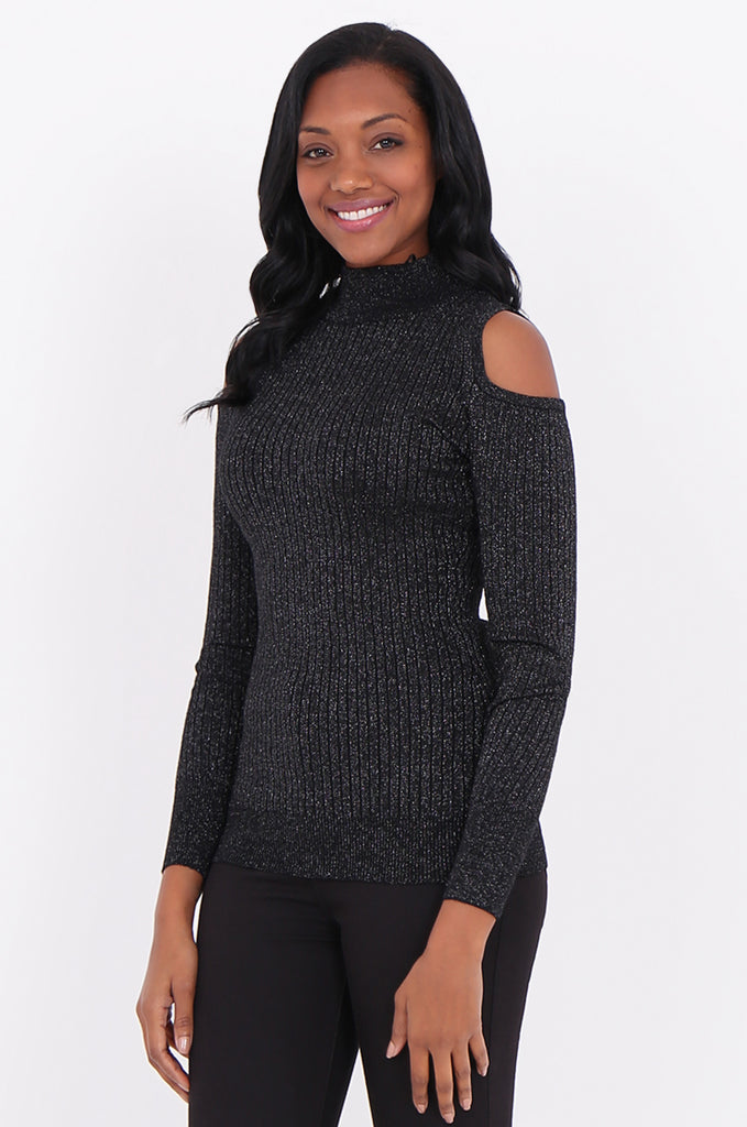 SF1801-BLACK LUREX RIBBED COLD SHOULDER KNIT TOP view main view