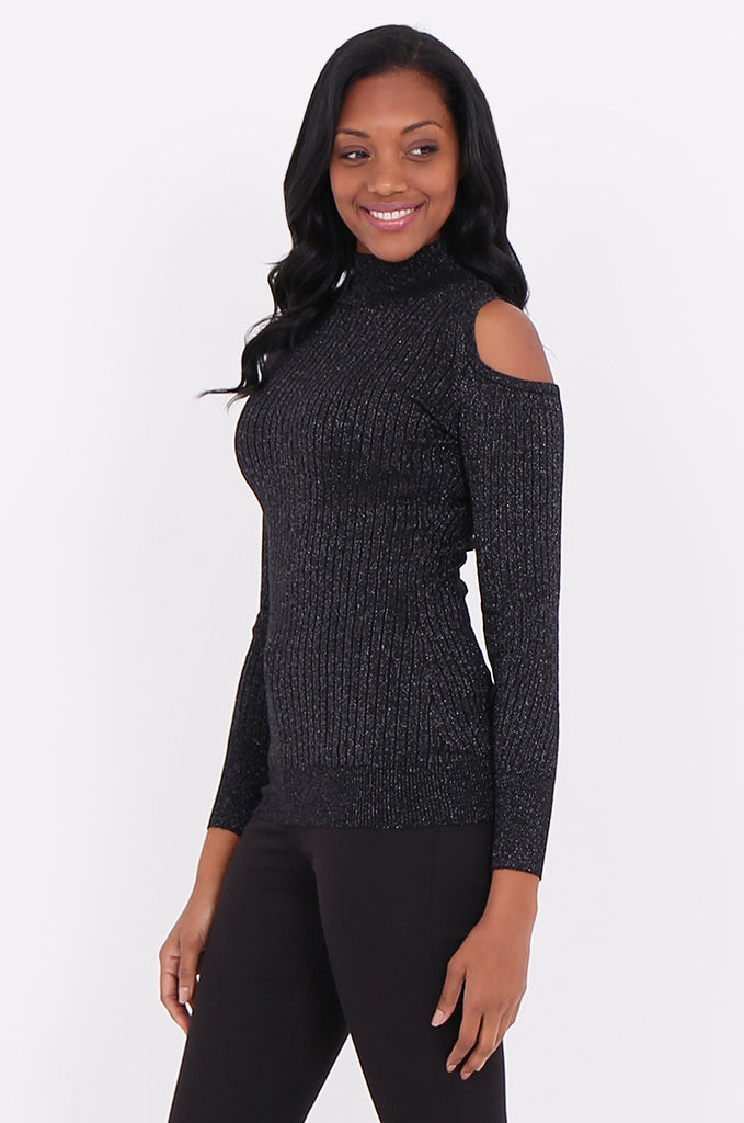 SF1801-BLACK LUREX RIBBED COLD SHOULDER KNIT TOP view 2