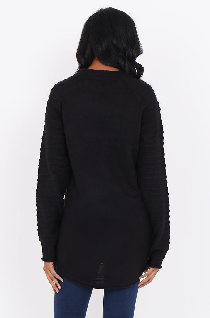 SF1824-BLACK RIBBED RAGLAN SLEEVE SWEATER view 3