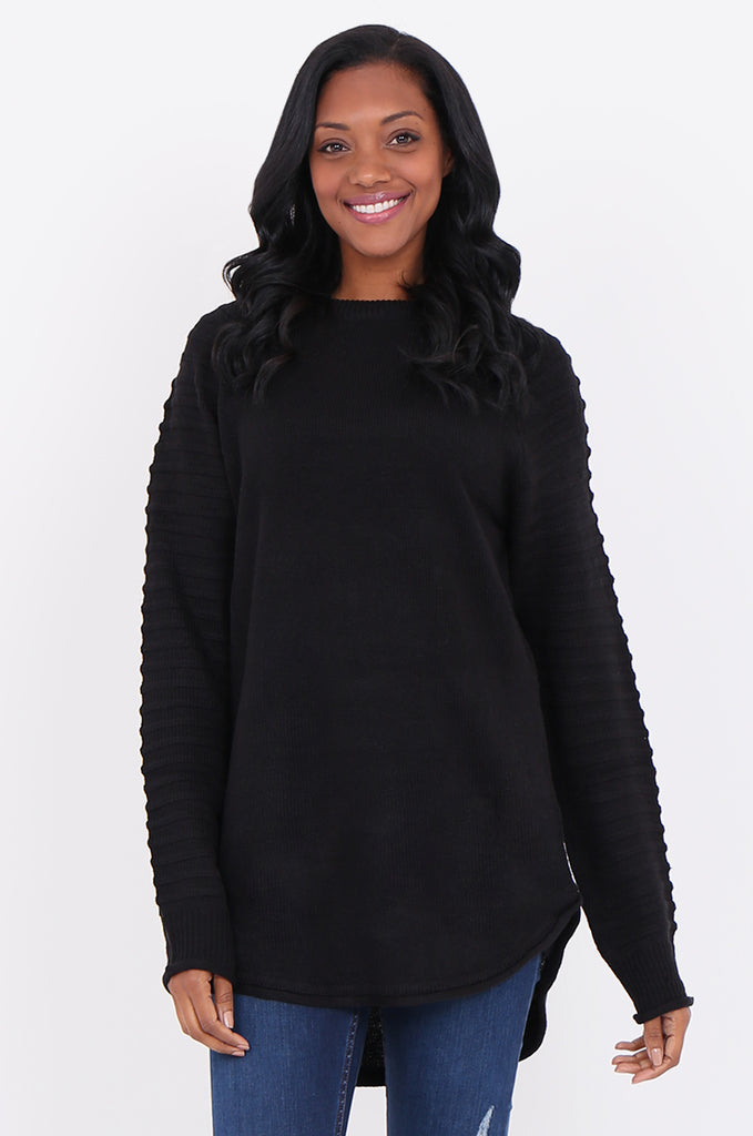 SF1824-BLACK RIBBED RAGLAN SLEEVE SWEATER