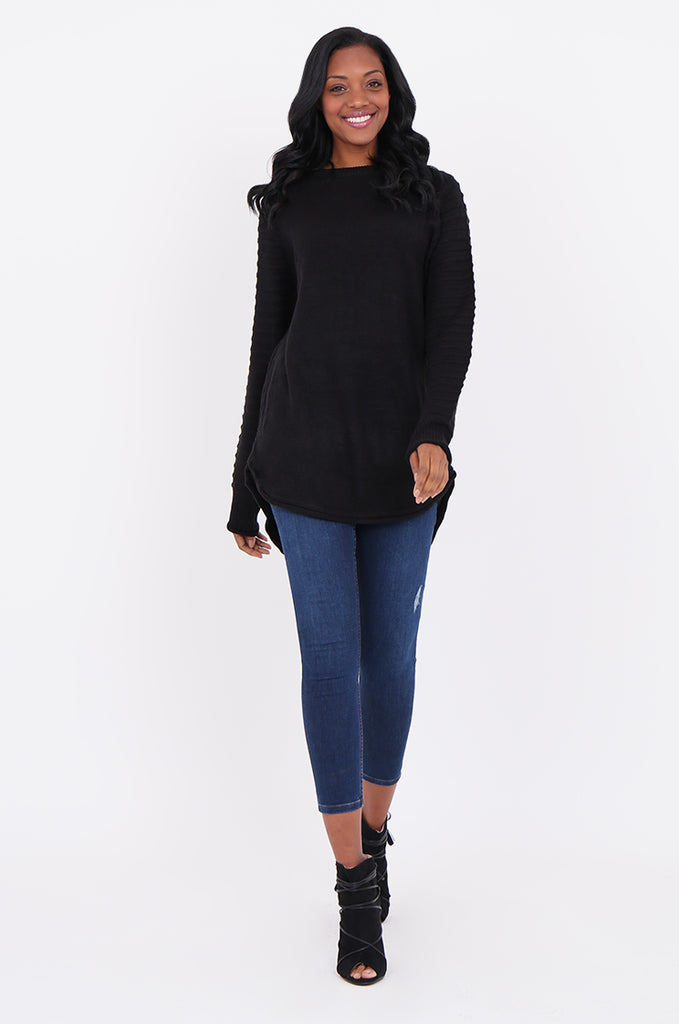 SF1824-BLACK RIBBED RAGLAN SLEEVE SWEATER view 4