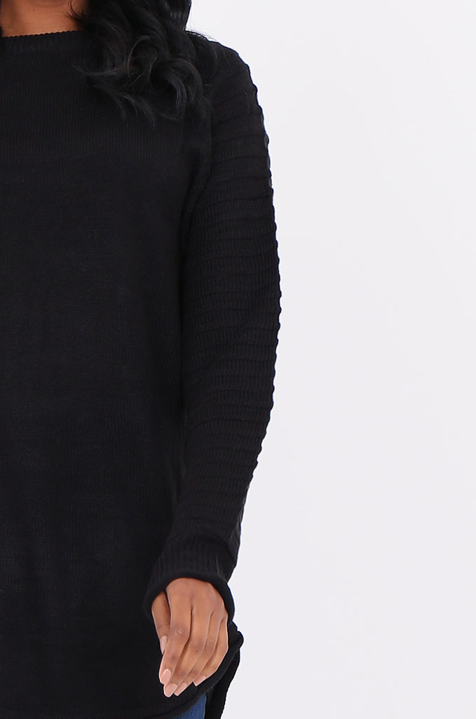 SF1824-BLACK RIBBED RAGLAN SLEEVE SWEATER view 5