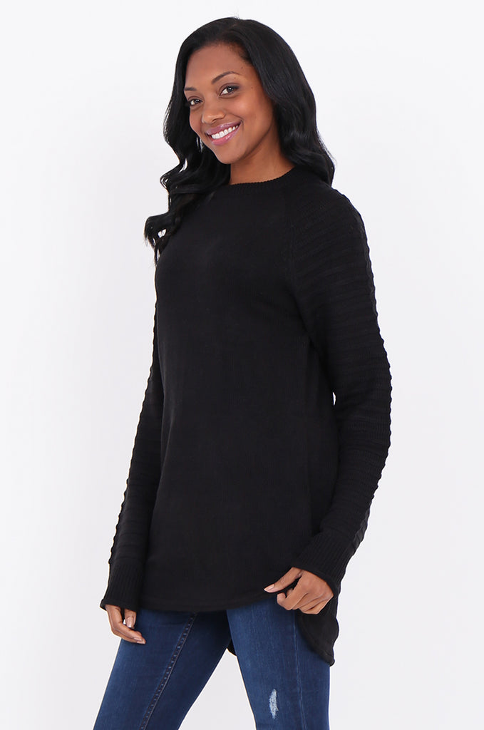 SF1824-BLACK RIBBED RAGLAN SLEEVE SWEATER view 2