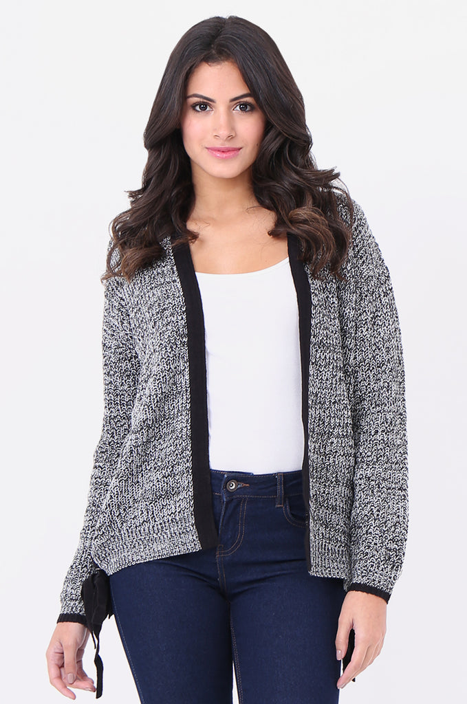 SF1825-BLACK MOTTLED HOODED LACE UP SIDE CARDIGAN