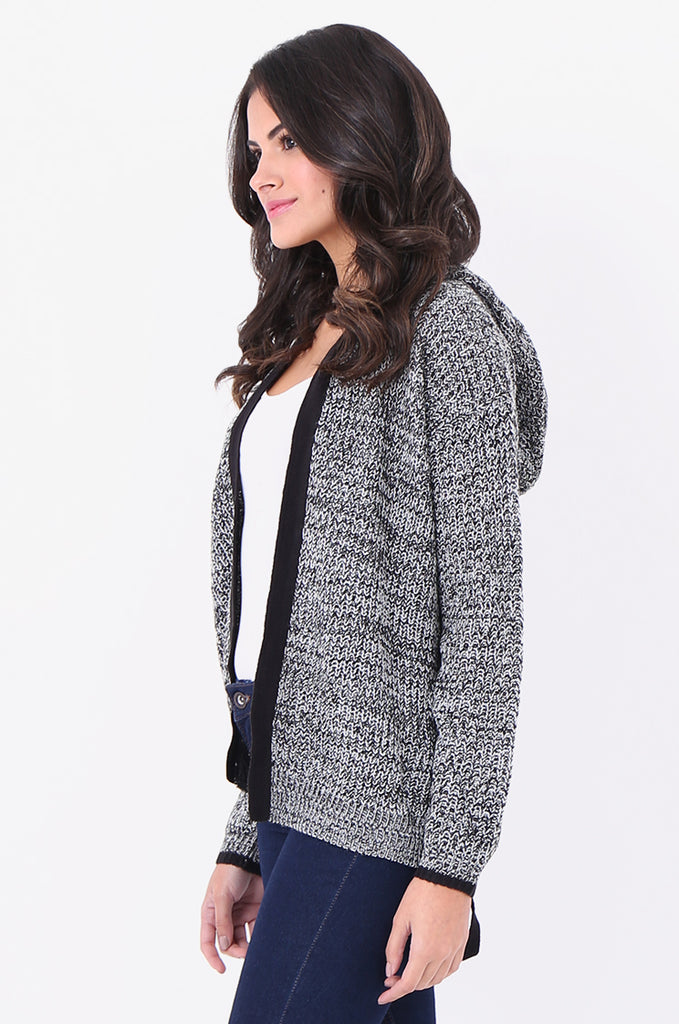 SF1825-BLACK MOTTLED HOODED LACE UP SIDE CARDIGAN view 2
