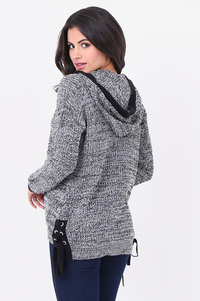SF1825-BLACK MOTTLED HOODED LACE UP SIDE CARDIGAN view 3