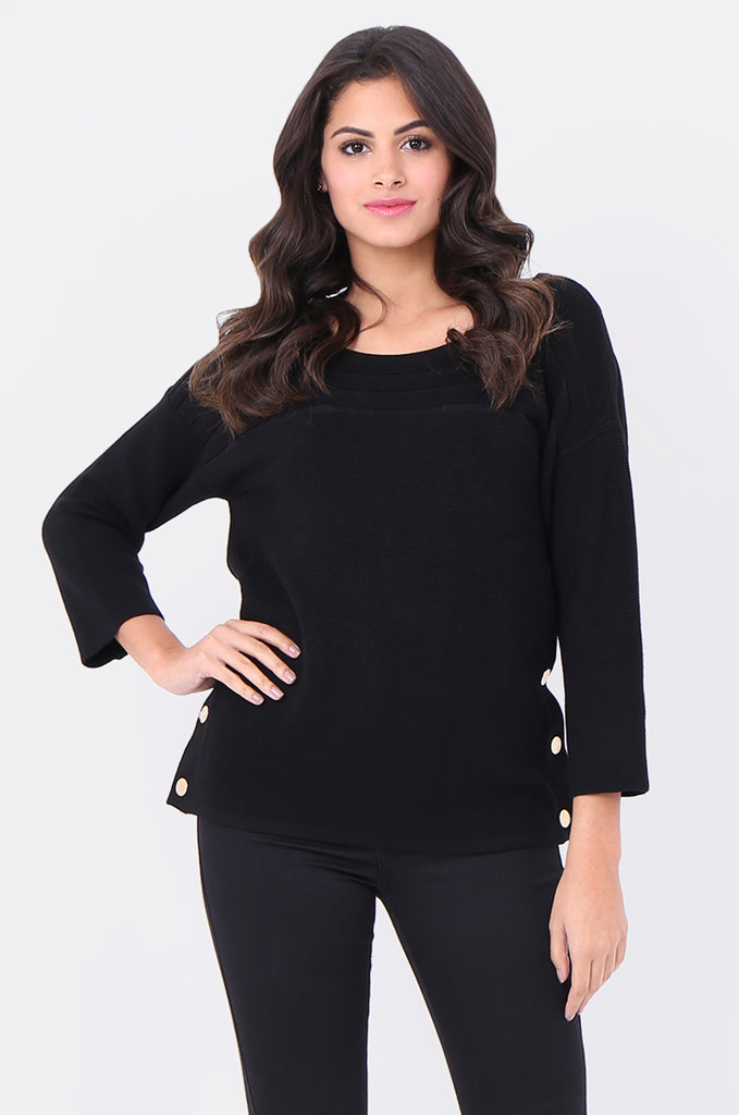 SF1826-BLACK 3/4 SLEEVE RIBBED POPPER SIDE SWEATER