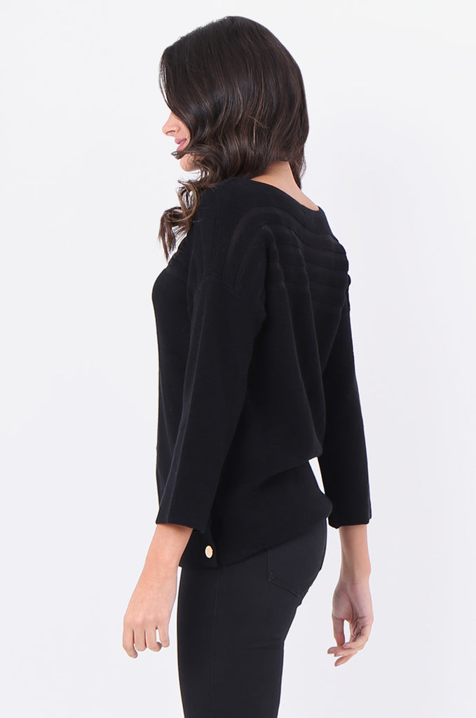 SF1826-BLACK 3/4 SLEEVE RIBBED POPPER SIDE SWEATER view 2