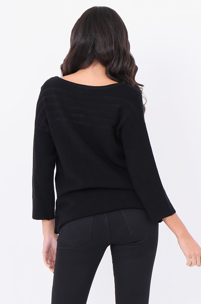 SF1826-BLACK 3/4 SLEEVE RIBBED POPPER SIDE SWEATER view 3