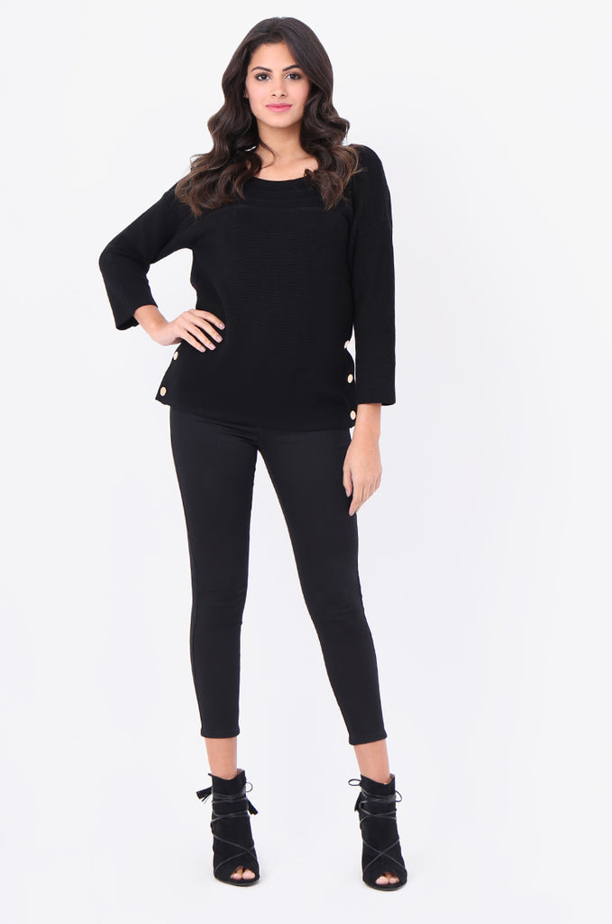SF1826-BLACK 3/4 SLEEVE RIBBED POPPER SIDE SWEATER view 4
