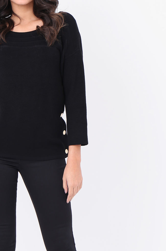 SF1826-BLACK 3/4 SLEEVE RIBBED POPPER SIDE SWEATER view 5