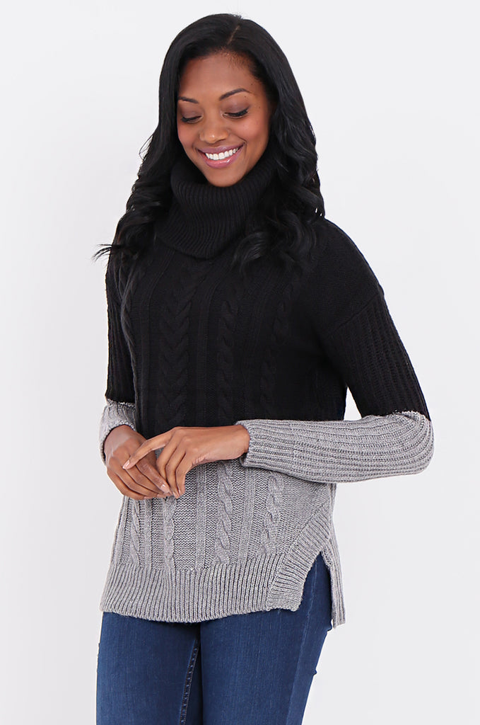 COWL NECK COLOUR BLOCK CABLE KNIT SWEATER