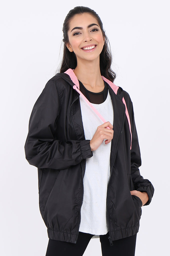 SF1848-BLACK SHOWER PROOF HOODED JACKET view main view