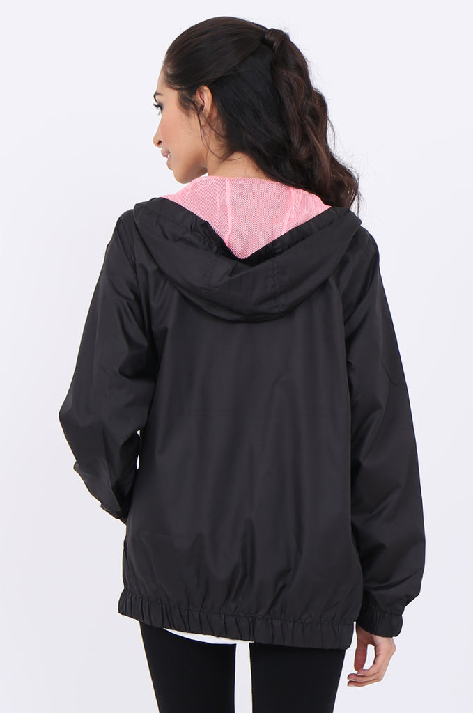 SF1848-BLACK SHOWER PROOF HOODED JACKET view 2