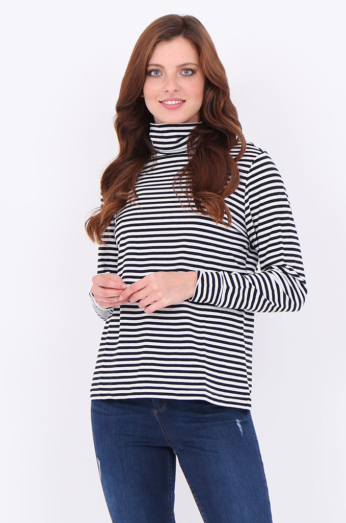 SF2032-BLACK STRIPED LONG SLEEVE TURTLE NECK TOP