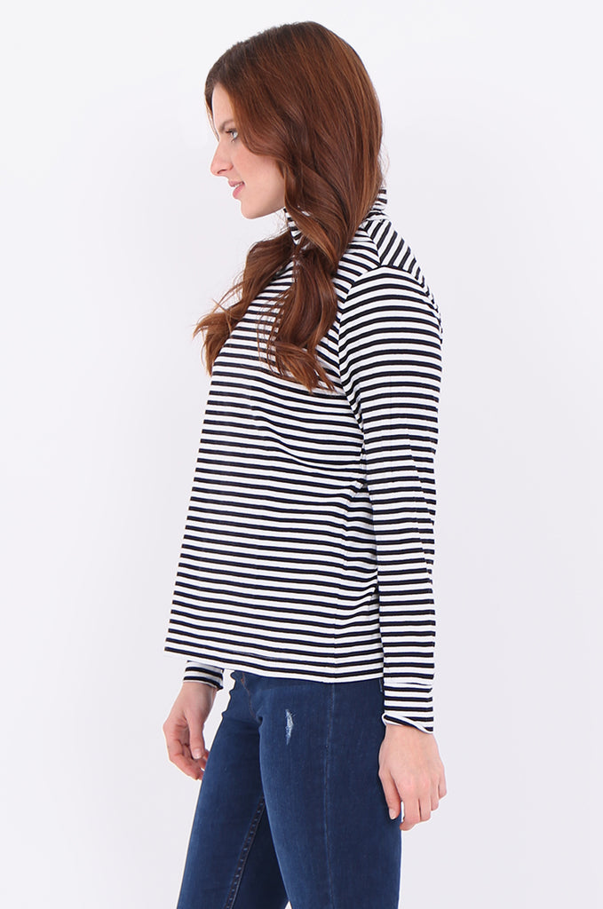 SF2032-BLACK STRIPED LONG SLEEVE TURTLE NECK TOP view 2