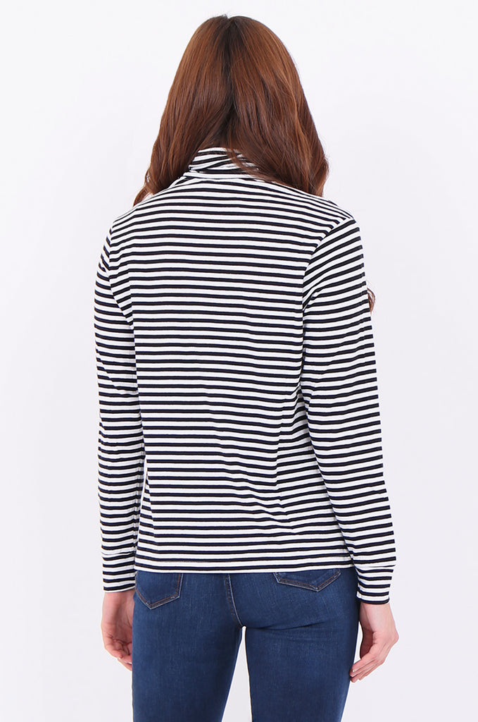 SF2032-BLACK STRIPED LONG SLEEVE TURTLE NECK TOP view 3