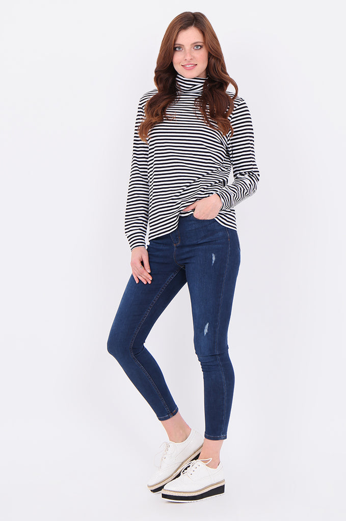 SF2032-BLACK STRIPED LONG SLEEVE TURTLE NECK TOP view 4