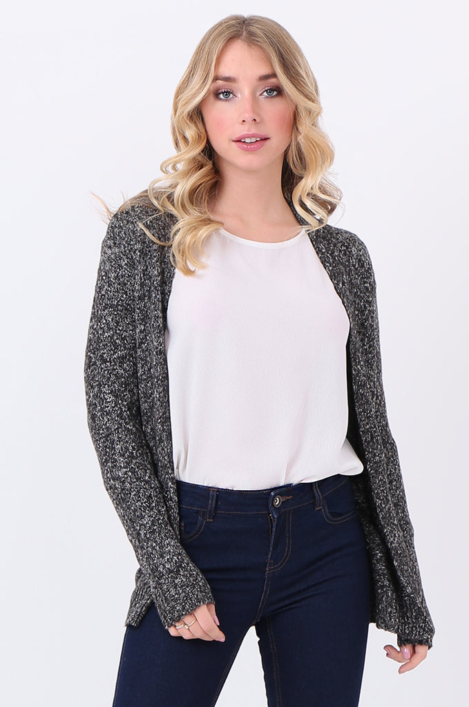 SF2105-BLACK TWEEDY EDGE TO EDGE CARDIGAN