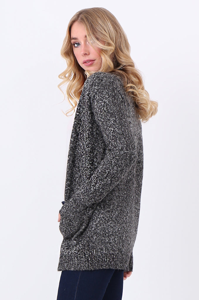 SF2105-BLACK TWEEDY EDGE TO EDGE CARDIGAN view 2