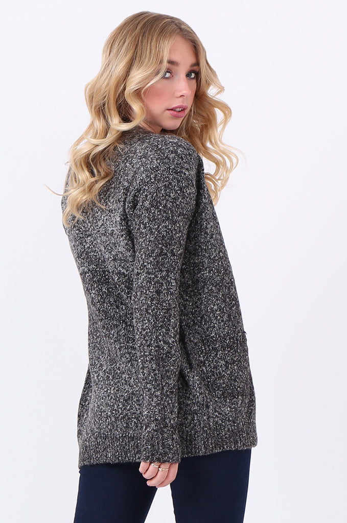 SF2105-BLACK TWEEDY EDGE TO EDGE CARDIGAN view 3