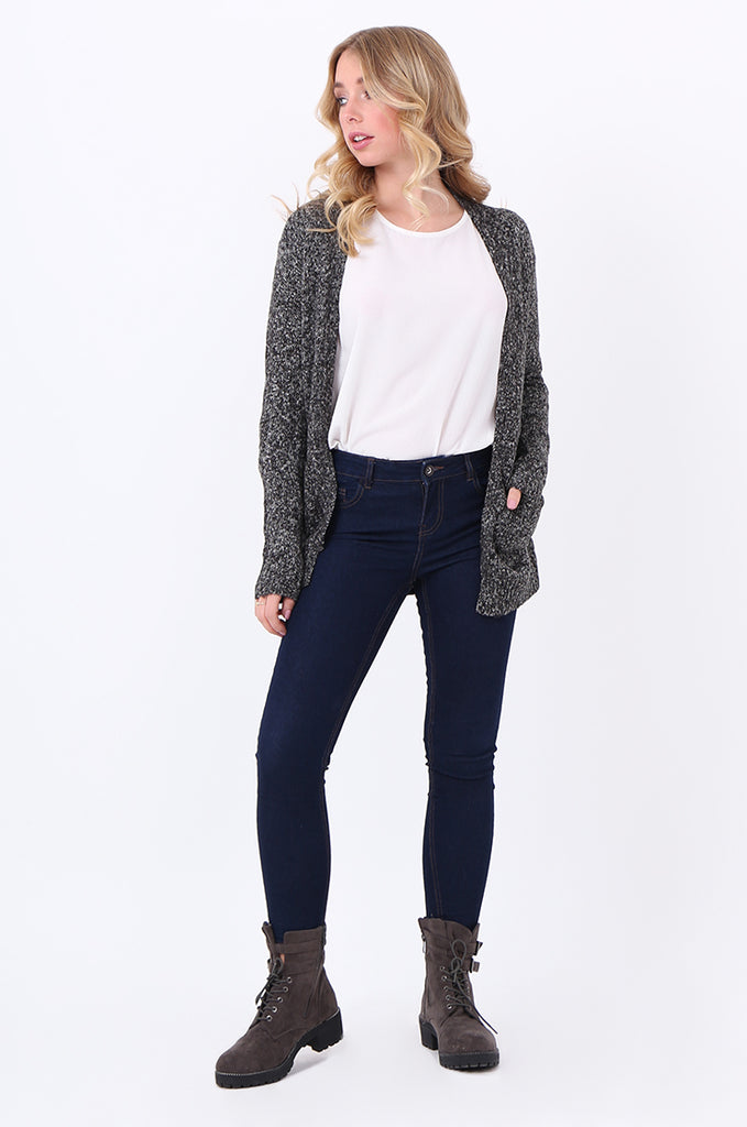 SF2105-BLACK TWEEDY EDGE TO EDGE CARDIGAN view 4